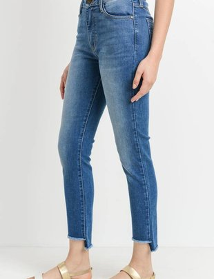 Premium denim Crop Fray Step Hem