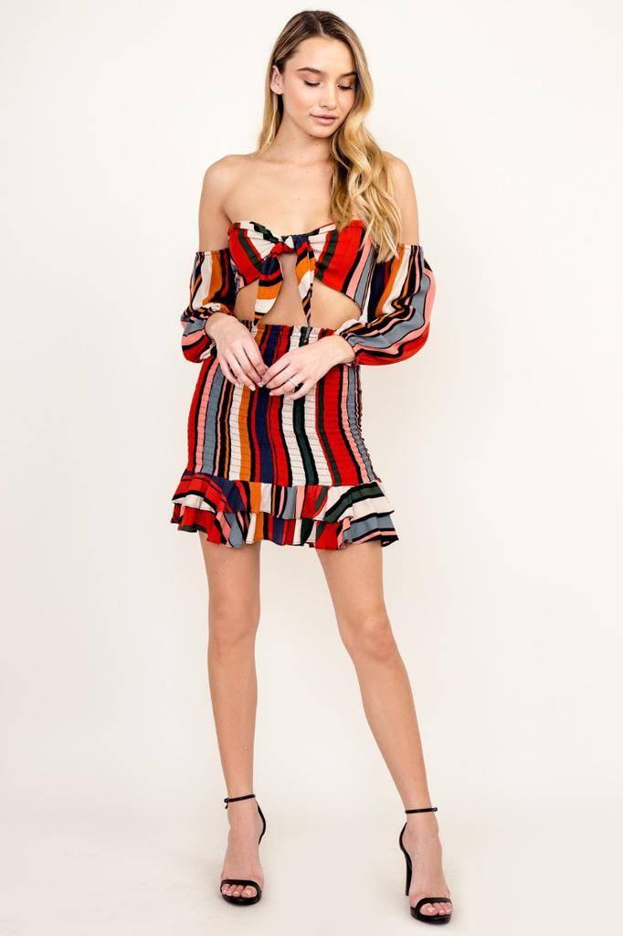 Skirt Ada Stripe Smocked Skirt