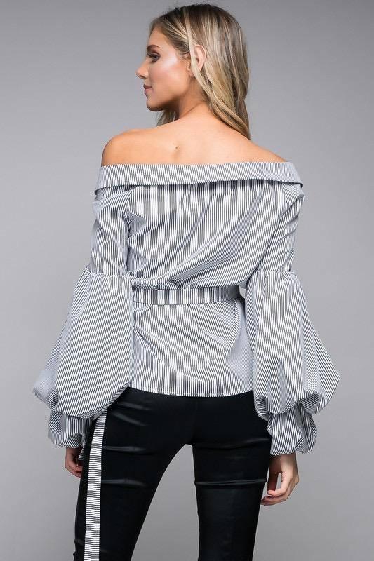 tops Off Shoulder Balloon Sleeves Shirt