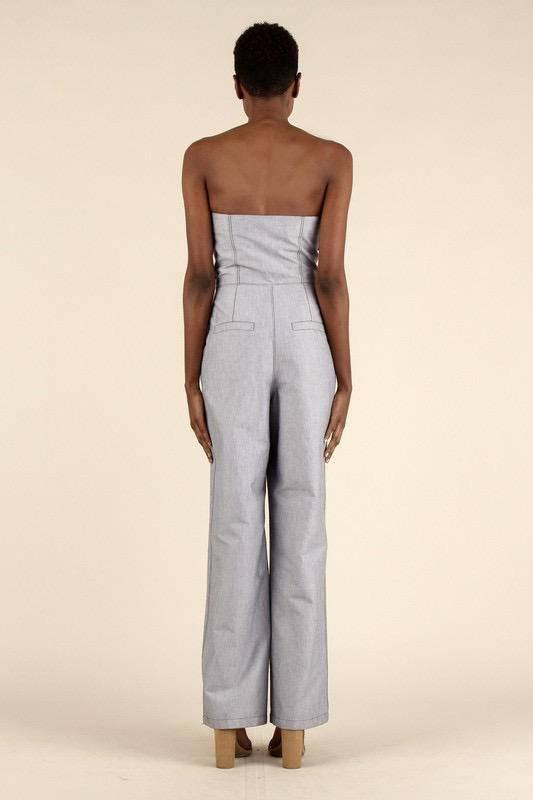 Jumpsuits Tie Front Jumpsuit W/Stitching