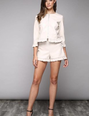 shorts Leather Faux Ruffle Shorts