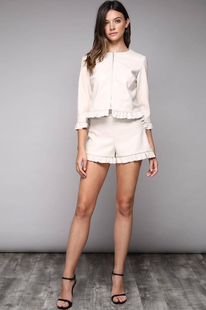 shorts Leather Faux Ruffle Shorts