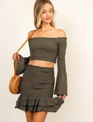 Skirt Ditsy Flare Smocked Skirt