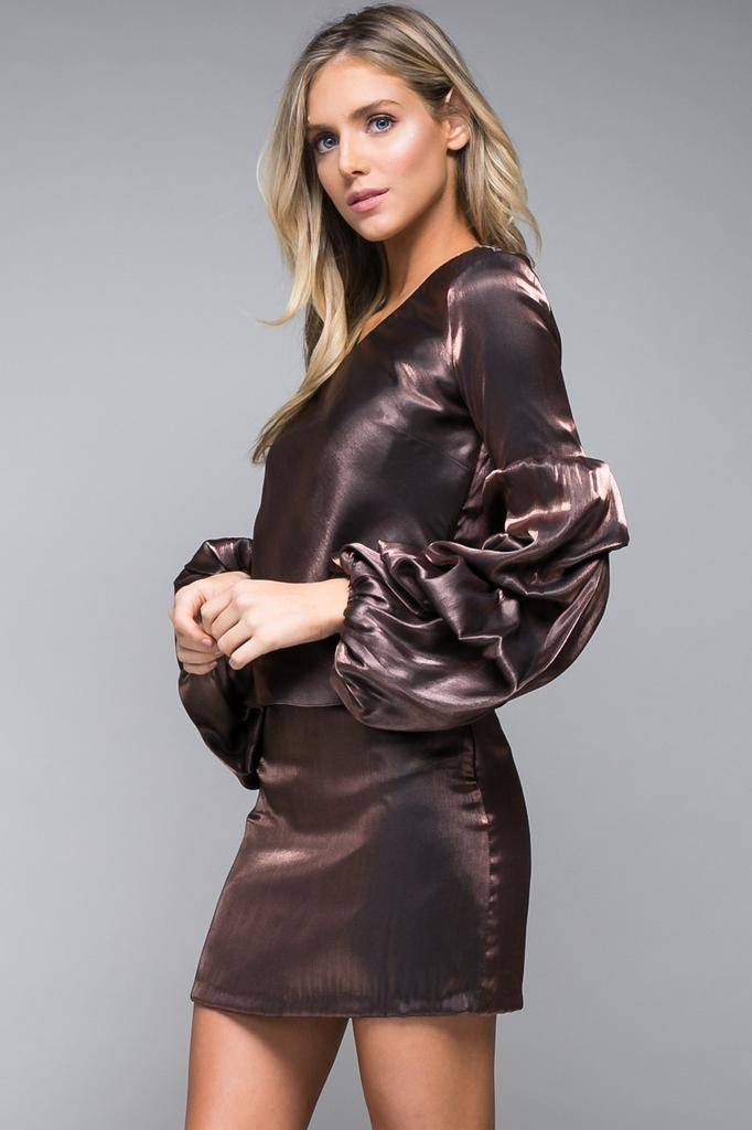 tops Metallic Ruffle Sleeve Top