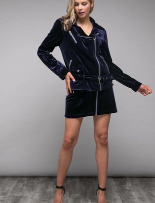 jackets Velvet Moto Jacket