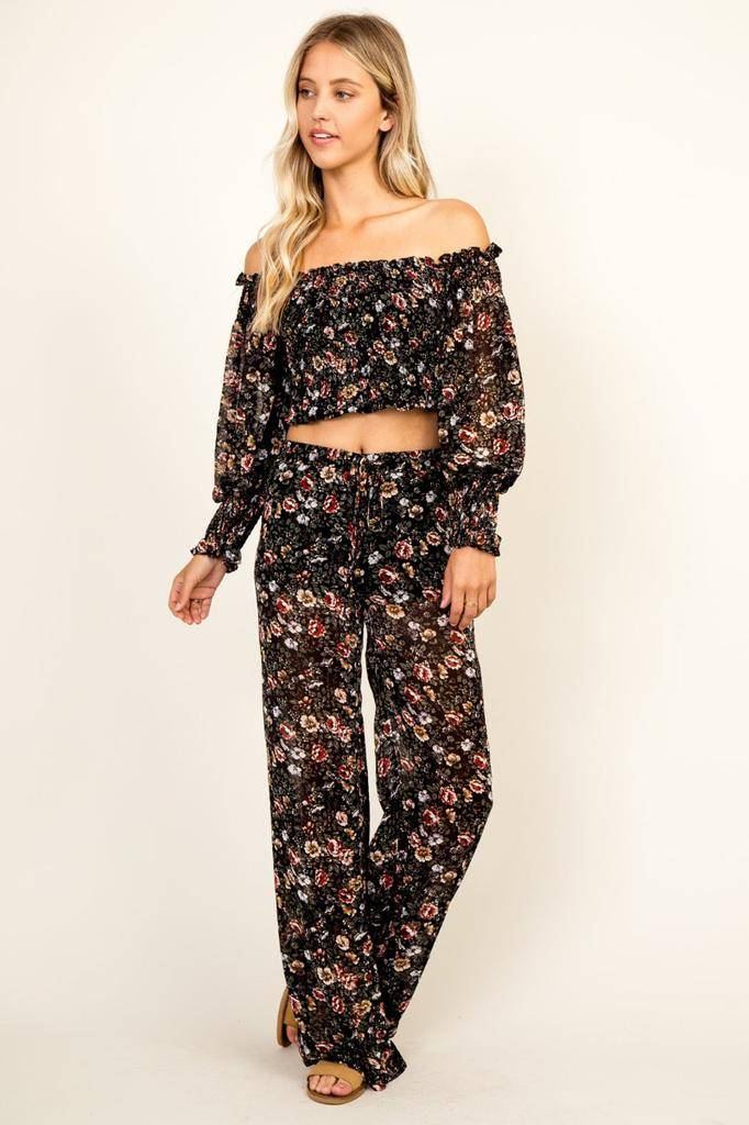 Bottoms Festive Floral Pants
