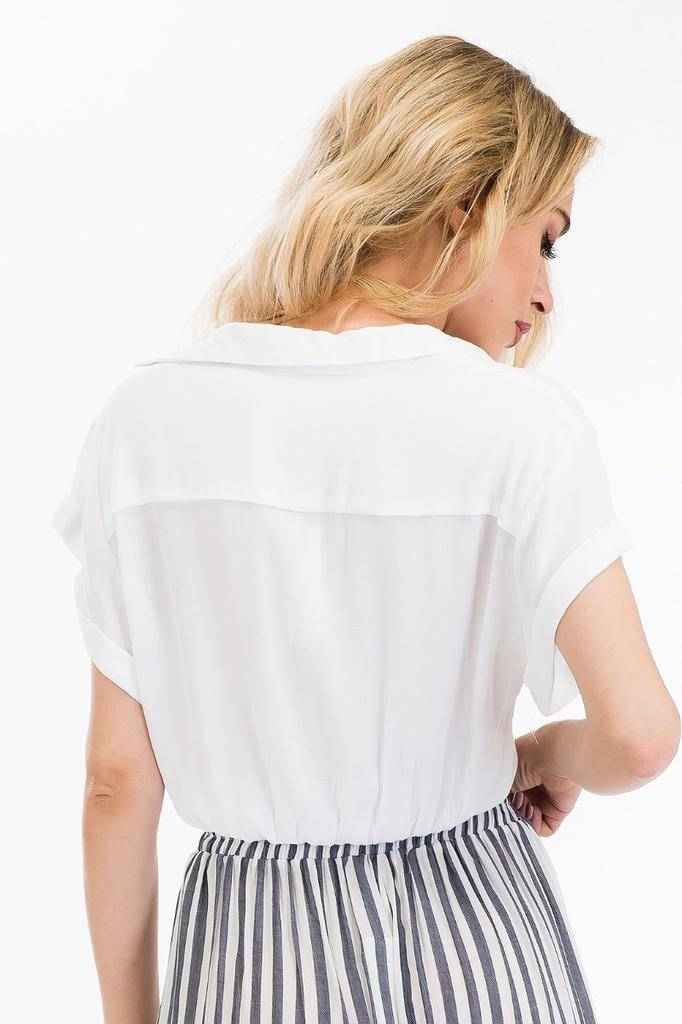 tops Cropped Collared Top