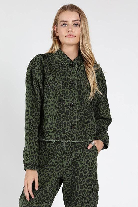 jackets Leopard Print Cut Off Jacket