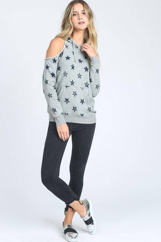 sweaters Cold Shoulder Star Sweatshirt w/Hoodie