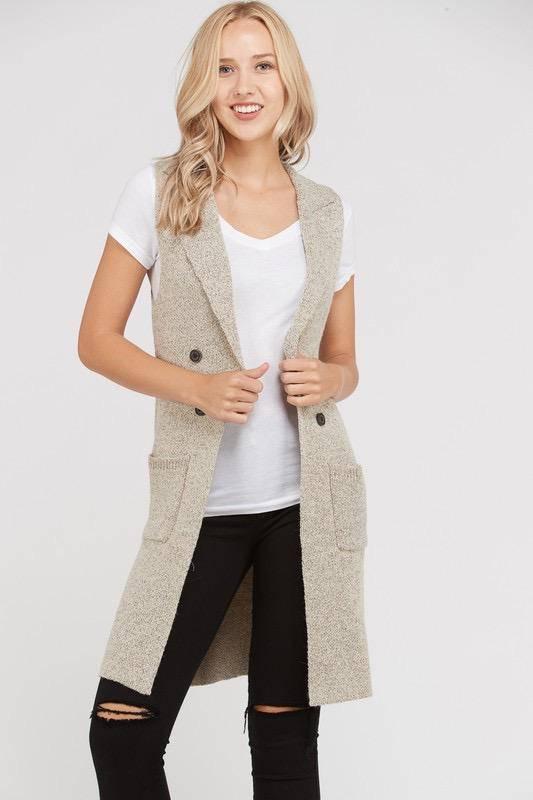 Sleeveless Cardigan Vest