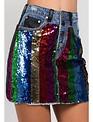 Skirt Rainbow sequin Mini skirt