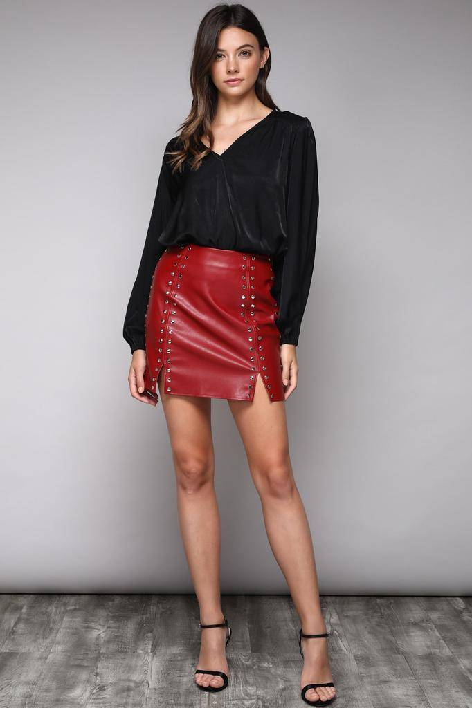 Skirt Faux Leather Studed Skirt