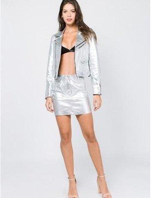 Bottoms Moto Metallic Mini Skirt