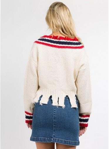 sweaters Destroyed V-Neck Crop Sweater