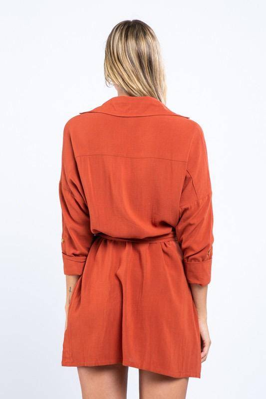 dresses Long-Sleeve Front Tied Mini Dress