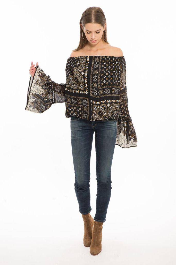 tops Briana Balloon Top W/ Bell Sleeves