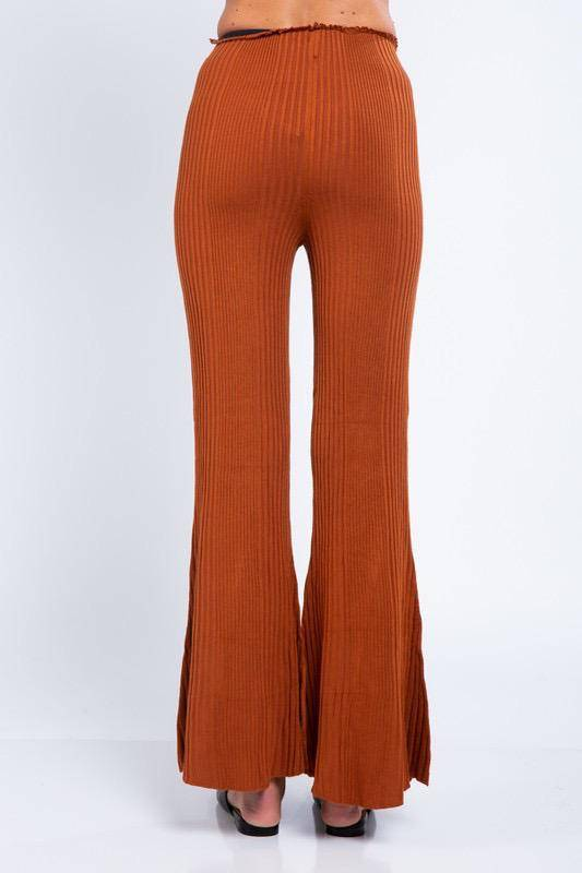 Bottoms Knit High Waist Flare Pants