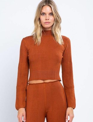 tops Knitted L/s Crop Top