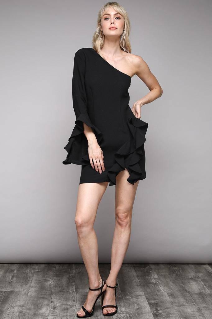 dresses One Shoulder Ruffle Dress