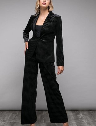 Bottoms Stripe Velvet Palazzo Pants