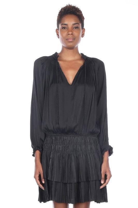 dresses Pleated Long Sleeve Dress