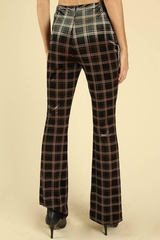 Bottoms High Waisted Plaid Flare Pants
