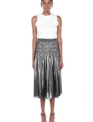 Skirt Metallic Midi Skirt W/ Smocked Waist
