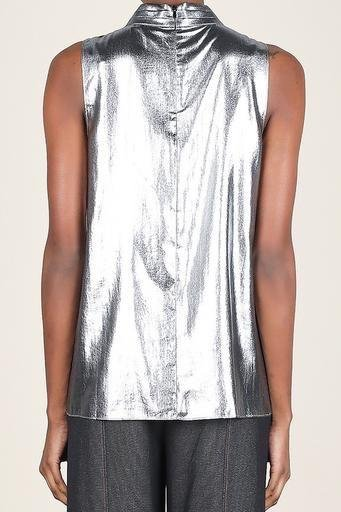 tops Metallic Tank With Lace Inset