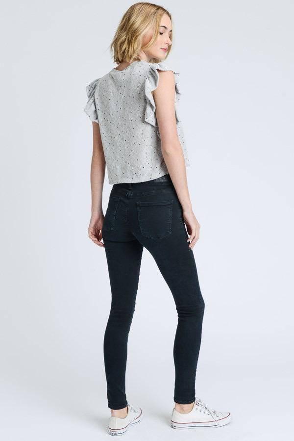 tops Ruffle sleeveless star printed knit top