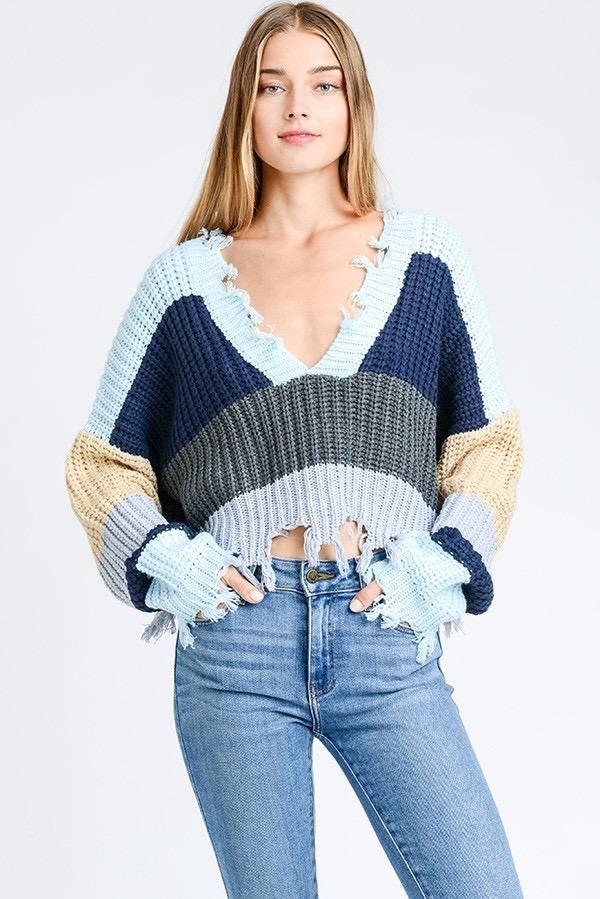 sweaters Drop Shoulder Crop Sweater
