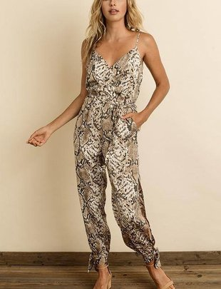 Jumpsuits Snake Surplice Jumpsuit