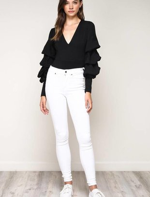 tops Tiered Sleeve Bodysuit