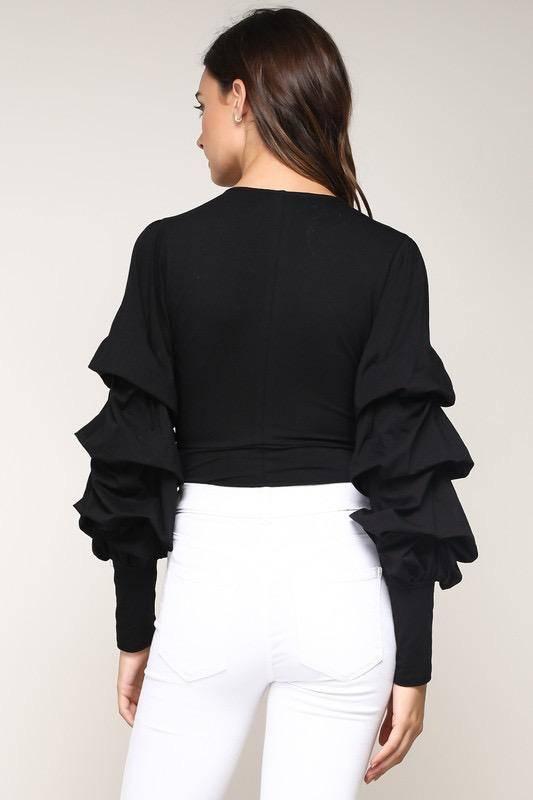 tops Tiered Sleeve Bodysuit