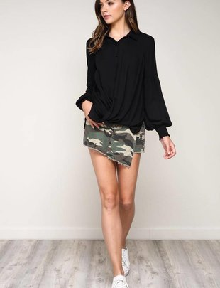 Skirt Front Wrap Mini Short