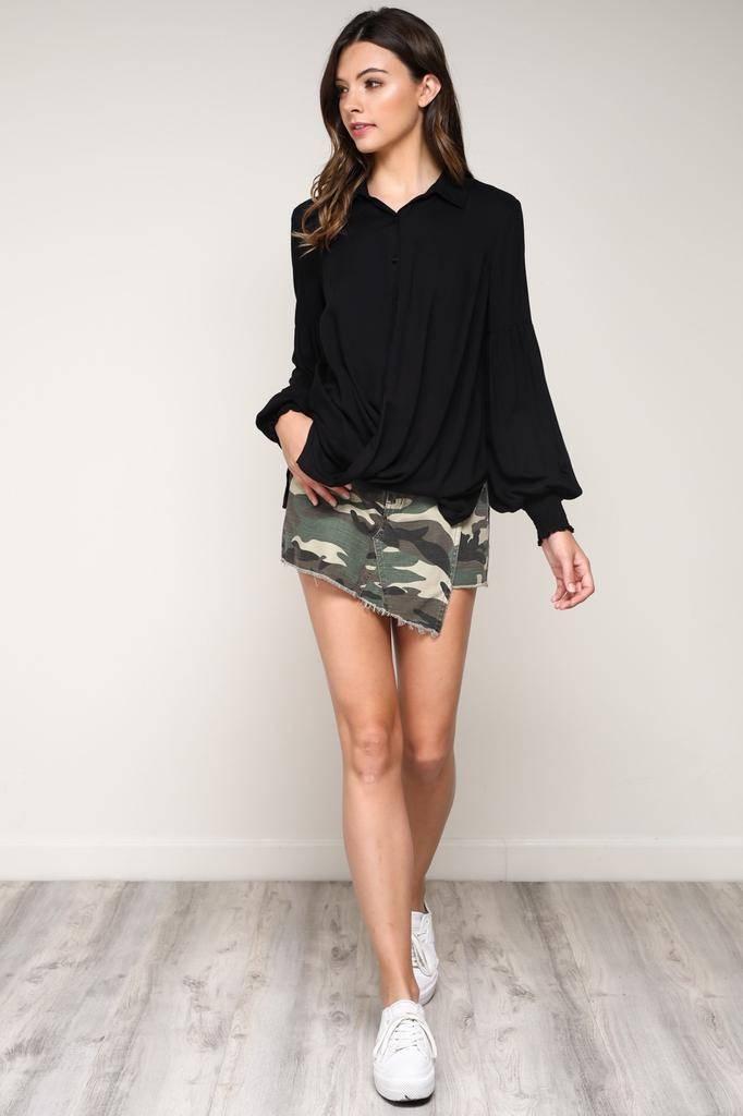 Skirt Front Wrap Mini Short