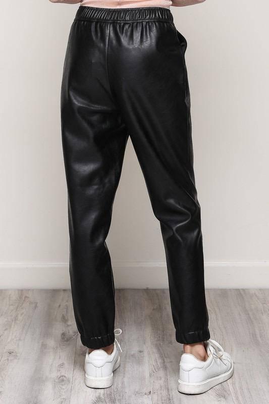Bottoms Faux Leather Jogger Pants