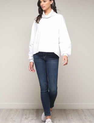 tops Turtleneck Fur Sleeve Top