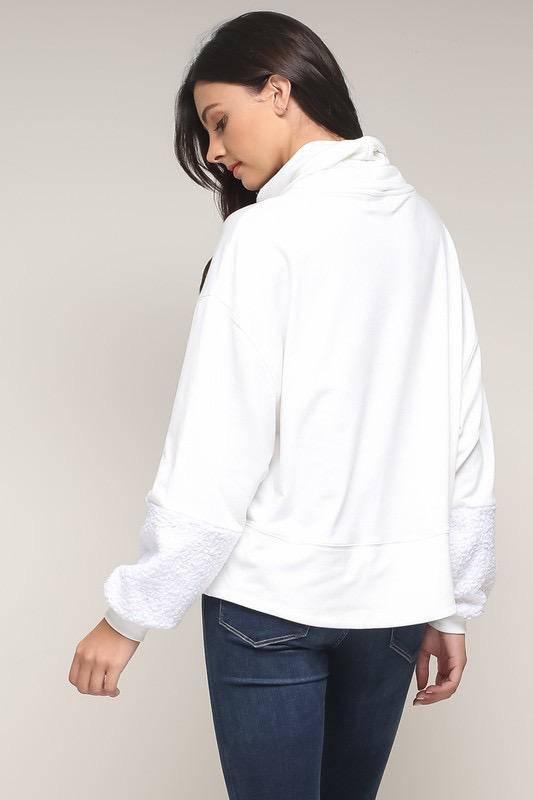 tops Turtleneck Fur Sleeve Top