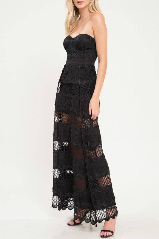 dresses Lynn Embroidered Strapless Maxi Dress