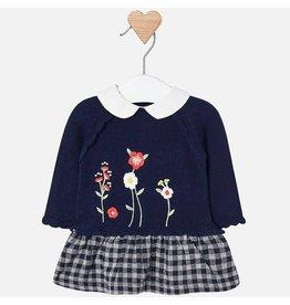 Dress, Flowered Sweater, Checkered Skirt