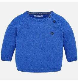 Sweater, Shoulder Opening, Crew Neck, Royal Blue