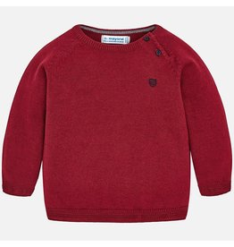 Sweater, Shoulder Opening, Crew Neck, Wine