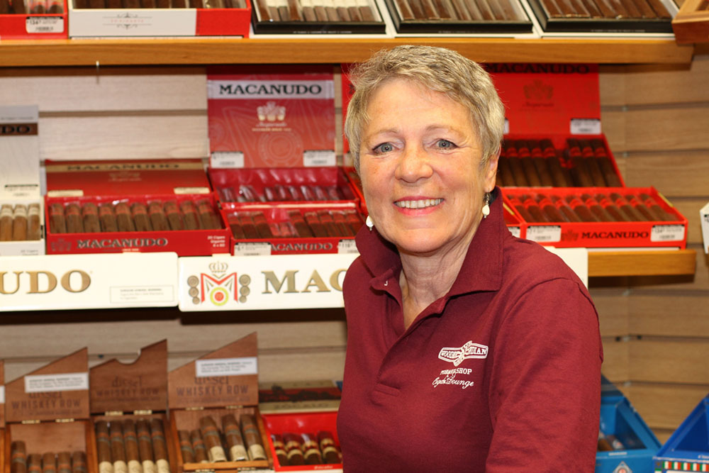 Barb Bosha, Vice President and online cigar seller at Wooden Indian Tobacco Shop in Havertown, PA