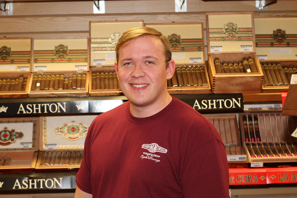 Todd Bisel, online sales manager and cigar aficionado at Wooden Indian Tobacco Shop in Havertown, PA