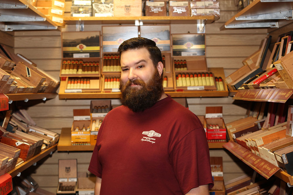 John Hubbs, sales representative and online cigar retailer for the Wooden Indian Tobacco Shop