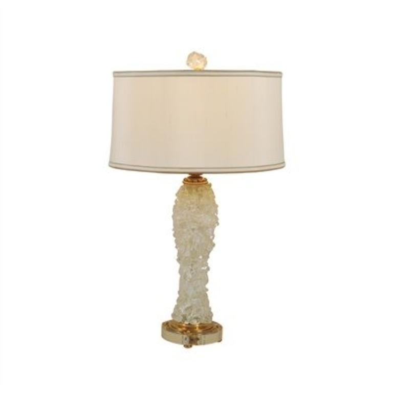 Rock Crystal Inlaid Table Lamp, Amber Finished Brass Accents, Silk Shade    Cayen Home