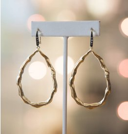 Robin Haley Gold Twist Oval White Topaz Earring