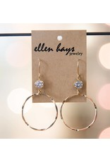 Ellen Hays Gold Filled Hammered Crystal Earring