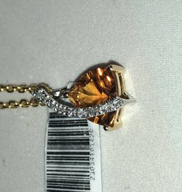 Citrine and Diamond Pendant; 14KT White Gold