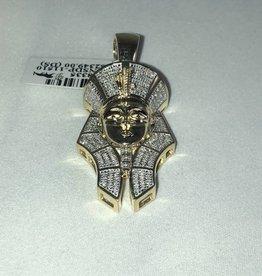 Round Cut Pave Diamonds, King Tut Large Man's Pendant; 0.43ctw; 10KT Yellow Gold